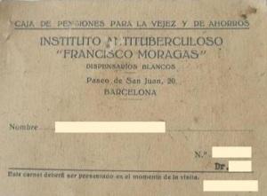 "Cartilla dispensaris blancs ""Francisco Moragas"" 1947"